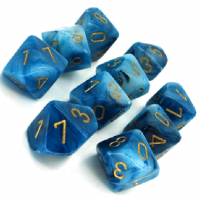 Teal & Gold Phantom D10 Ten Sided Dice Set